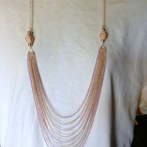 Multiple Layered Pink Gold Long Necklace